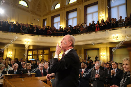New Jersey Gov. Phil Murphy blows a kiss before starting his State of the State address in Trenton, N.J., . Murphy, a Democrat, delivered his second State of the State speech Tuesday before a joint session of the Democrat-led Legislature, sketching his agenda for the year