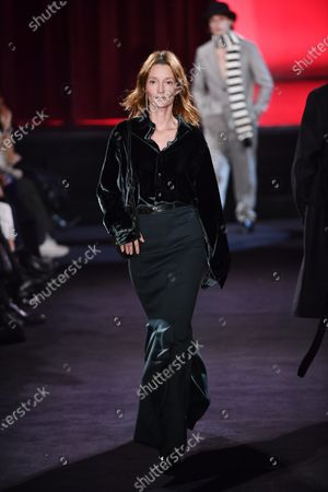 Stock Picture of French actress and model Audrey Marnay presents a creation from the Fall/ Winter 2020/2021 Ready to Wear collection by French designer Alexandre Mattiussi for AMI fashion house during the Paris Fashion Week, in Paris, France, 14 January 2020. The presentation of the men's collections runs from 14 to 19 January.