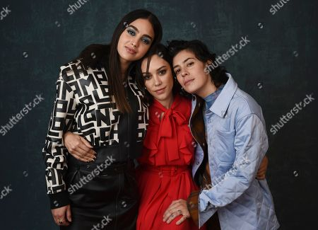 "Melissa Barrera, Mishel Prada, Roberta Colindrez. Melissa Barrera, from left, Mishel Prada and Roberta Colindrez, cast members in the Starz series ""Vida,"" pose together for a portrait during the 2020 Winter Television Critics Association Press Tour, in Pasadena, Calif"
