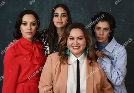"Tanya Saracho, Mishel Prada, Melissa Barrera, Robert Colindrez. Tanya Saracho, foreground center, creator/showrunner/executive producer of the Starz series ""Vida,"" poses for a portrait with cast members, from left, Mishel Prada, Melissa Barrera and Roberta Colindrez during the 2020 Winter Television Critics Association Press Tour, in Pasadena, Calif"