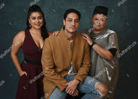 "Chelsea Rendon, Carlos Miranda, Ser Anzoategui. From left, Chelsea Rendon, Carlos Miranda and Ser Anzoategui, cast members in the Starz series ""Vida,"" pose for a portrait during the 2020 Winter Television Critics Association Press Tour, in Pasadena, Calif"