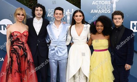 Stock Picture of Stranger Things - Cara Buono, Finn Wolfhard, Noah Schnapp, Millie Bobby Brown, Priah Ferguson and Gaten Matarazzo