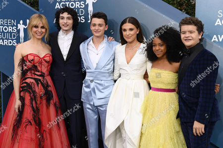 Stock Photo of Stranger Things - Cara Buono, Finn Wolfhard, Noah Schnapp, Millie Bobby Brown, Priah Ferguson and Gaten Matarazzo