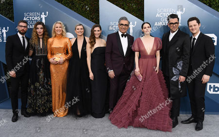 Stock Picture of Shitts Creek - Dustin Milligan, Annie Murphy, Catherine O'Hara, Sarah Levy, Eugene Levy, Emily Hampshire, Daniel Levy and Noah Reid