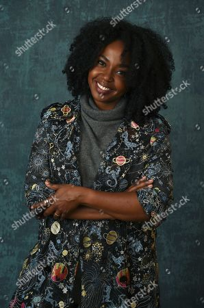 """Jerrika Hinton, a cast member in the Amazon Studios series """"Hunters,"""" poses for a portrait during the 2020 Winter Television Critics Association Press Tour, in Pasadena, Calif"""