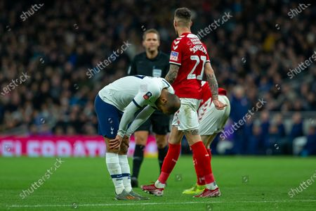 Lucas Moura of Tottenham Hotspur looks dejected after his failed goal attempt