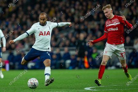 Lucas Moura of Tottenham Hotspur goal attempt