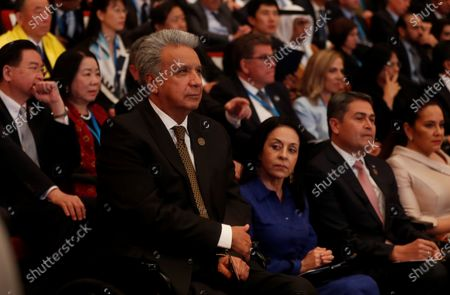 The President of Ecuador Lenin Moreno attends the inauguration of the president-elect of Guatemala, Alejandro Giammattei (not pictured), at the National Theater in Guatemala City, Guatemala, 14 January 2020.