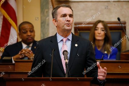 Ralph Northam, Eileen Filler-Corn, Justin Fairfax. Virginia Gov. Ralph Northam, center, gestures as he delivers his State of the Commonwealth address as House Speaker Eileen Filler-Corn, D-Fairfax, right, and Lt. Gov. Justin Fairfax, left, listen before a joint session of the Virginia Assembly at the state Capitol in Richmond, Va. Northam plans to declare a temporary emergency Wednesday, Jan. 15, banning all weapons, including guns, from Capitol Square ahead of a massive rally planned next week over gun rights