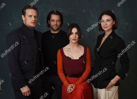 """Sam Heughan, Richard Rankin, Sophie Skelton, Caitrona Balfe. From left, Sam Heughan, Richard Rankin, Sophie Skelton and Caitrona Balfe, cast members in the Starz series """"Outlander,"""" pose for a portrait during the 2020 Winter Television Critics Association Press Tour, in Pasadena, Calif"""