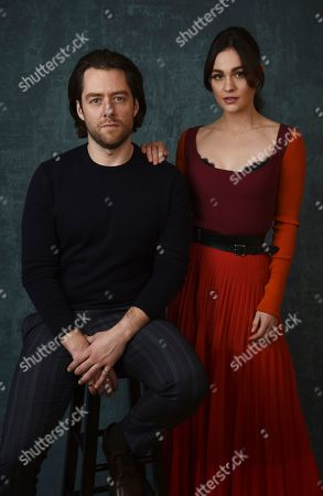 """Richard Rankin, Sophie Skelton. Richard Rankin, left, and Sophie Skelton, cast members in the Starz series """"Outlander,"""" pose together for a portrait during the 2020 Winter Television Critics Association Press Tour, in Pasadena, Calif"""