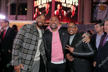 Stock Photo of Will Smith, Actor/Producer, Kenya Barris and Martin Lawrence attend the Los Angeles Premiere of Columbia Pictures BAD BOYS FOR LIFE.