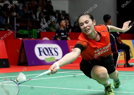 Cai Yanyan of China in action during the women's single qualifying match against Ratchanok Intanon of Thailand (not pictured) at the Daihatsu Indonesian Masters 2020 badminton tournament in Jakarta, Indonesia, 15 January 2020.