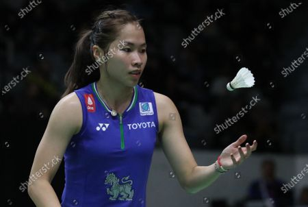 Ratchanok Intanon of Thailand in action during the women's single qualifying match against Cai Yanyan of China (not pictured) at the Daihatsu Indonesian Masters 2020 badminton tournament in Jakarta, Indonesia, 15 January 2020.