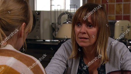 Ep 8719 Thursday 30th January 2020 - 2nd Ep Vanessa Woodfield, as played by Michelle Hardwick, warns Rhona Goskirk, as played by Zoe Henry, against looking for clues as to who murdered Graham warning her to stay safe.