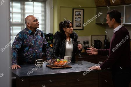Ep 8716 Tuesday 28th January 2020 Jai Sharma, as played by Chris Bisson, is alarmed to hear he attacked Jimmy on the night of Graham's murder. Also pictured Risha Sharma, as played by Bhasker Patel, and Priya Sharma, as played by Fiona Wade.
