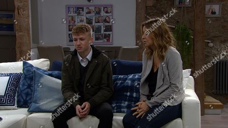 Ep 8716 Tuesday 28th January 2020 Charity Dingle, as played by Emma Atkins, is floored when Noah Dingle, as played by Jack Downham, tells her that it was Sarah, not Graham, who was to blame for his hospitalization.