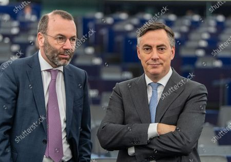 Chairman of the EPP Group in the European Parliament Manfred Weber (L) speaks with David McAllister (R), Member of Parliament of the EPP Group, before the debate on the future of Europe at the European Parliament in Strasbourg, France, 15 January 2020.