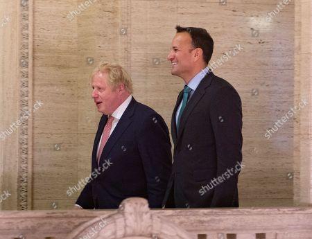 UK Prime Minister Boris Johnson with Irish Taoiseach Leo Varadkar on their way to make a public statement.