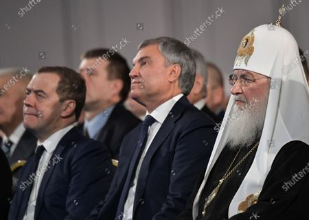 Stock Image of Russian Orthodox Patriarch of Moscow and All Russia Kirill (R), Russian State Duma Speaker Vyacheslav Volodin (C) and Russian Prime Minister Dmitry Medvedev (L) attend Russian President Vladimir Putin's annual address to the Federal Assembly at the Manezh Central Exhibition Hall in Moscow, Russia, 15 January 2020. About 1,300 people including lawmakers of Russian two-chamber parliament, Government members, heads of the Constitutional and Supreme courts, and regional governors, were invited to attend the event. About 900 Russian and foreign journalists were accredited to cover the event.