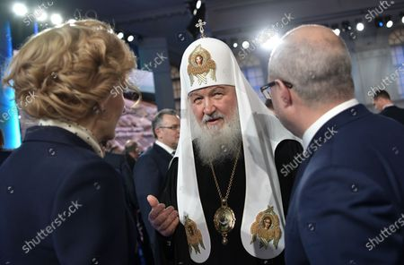 Russian Orthodox Patriarch of Moscow and All Russia Kirill (C) prior to Russian President Vladimir Putin's annual address to the Federal Assembly at the Manezh Central Exhibition Hall in Moscow, Russia, 15 January 2020. About 1,300 people including lawmakers of Russian two-chamber parliament, Government members, heads of the Constitutional and Supreme courts, and regional governors, were invited to attend the event. About 900 Russian and foreign journalists were accredited to cover the event.
