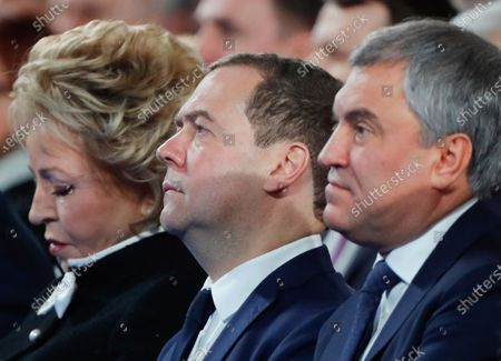 Russian State Duma Speaker Vyacheslav Volodin (R), Russian Prime Minister Dmitry Medvedev (C) and Russian Federation Council Chairperson Valentina Matviyenko (L) attend Russian President Vladimir Putin's annual address to the Federal Assembly at the Manezh Central Exhibition Hall in Moscow, Russia, 15 January 2020. About 1,300 people including lawmakers of Russian two-chamber parliament, Government members, heads of the Constitutional and Supreme courts, and regional governors, were invited to attend the event. About 900 Russian and foreign journalists were accredited to cover the event.
