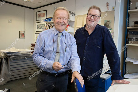 Stock Photo of Features - Daily Mail Cartoonist Mac ( Stanley Mcmurtry) And His Successor Paul Thomas In Mac's Studio.