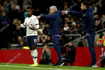 A confused Ryan Sessegnon of Tottenham Hotspur as he receives instructions from Tottenham Hotspur Manager Jose Mourinho
