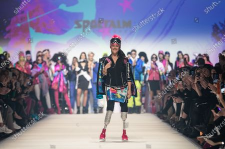 Giuseppina (Giusy) Versace presents a creation by fashion label Sportalm during the MBFW (Mercedes-Benz Fashion Week) in Berlin, Germany, 15 January 2020. The Autumn/Winter 2020 collections are presented at the MBFW Berlin from 13 to 17 January.