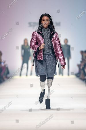 Stock Photo of Giuseppina (Giusy) Versace presents a creation by fashion label Sportalm during the MBFW (Mercedes-Benz Fashion Week) in Berlin, Germany, 15 January 2020. The Autumn/Winter 2020 collections are presented at the MBFW Berlin from 13 to 17 January.