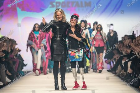 Giuseppina (Giusy) Versace (R) and designer Ulli Ehrlich appear on the runway at the show of fashion label Sportalm during the MBFW (Mercedes-Benz Fashion Week) in Berlin, Germany, 15 January 2020. The Autumn/Winter 2020 collections are presented at the MBFW Berlin from 13 to 17 January.