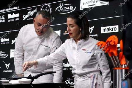 Spanish chef Elena Arzak (R), and her colleague Igor Zalakain, from the restaurant Arzak, lead a masterclass on 'Natural enzymes' at the 18th Madrid Fusion gastronomy fair, in Madrid, Spain, 15 January 2020. The gastronomic event runs until 15 January.