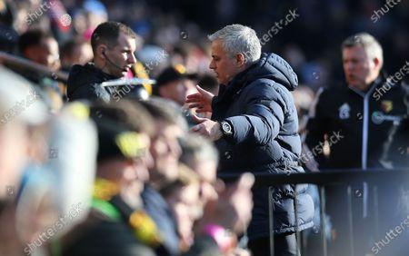 Jose Mourinho head coach of Tottenham Hotspur reacts