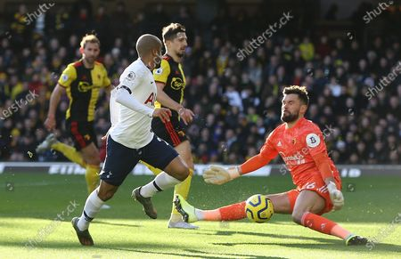 Stock Image of Ben Foster of Watford makes a save under pressure from  Lucas Moura of Tottenham Hotspur
