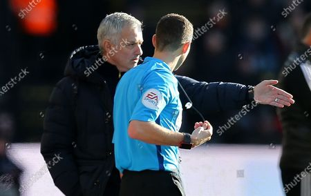 Stock Photo of Jose Mourinho head coach of Tottenham Hotspur complains to the 4th official