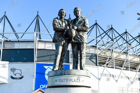 A general view of Pride Park with the Brian Clough and Peter Taylor statue outside the ground