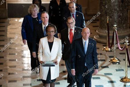 Paul Irving, Cheryl Johnson, Jerrold Nadler, Adam Schiff, Hakeem Jeffries, Zoe Lofgren. Clerk of the House Cheryl Johnson, left, and House Sergeant at Arms Paul Irving pass through Statuary Hall at the Capitol to deliver the articles of impeachment against President Donald Trump to the Senate, on Capitol Hill in Washington, . Following are impeachment managers, House Intelligence Committee Chairman Adam Schiff, D-Calif., left, and House Judiciary Committee Chairman Jerrold Nadler, D-N.Y., and other managers Rep. Hakeem Jeffries, D-N.Y., and Rep. Zoe Lofgren, D-Calif