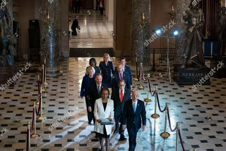 Paul Irving, Cheryl Johnson, Jerrold Nadler, Adam Schiff, Hakeem Jeffries, Sylvia Garcia, Val Demings, Zoe Lofgren, Jason Crow. Clerk of the House Cheryl Johnson, left, and House Sergeant at Arms Paul Irving pass through Statuary Hall at the Capitol to deliver the articles of impeachment against President Donald Trump to the Senate, on Capitol Hill in Washington, . Following are impeachment managers, House Intelligence Committee Chairman Adam Schiff, D-Calif., left, and House Judiciary Committee Chairman Jerrold Nadler, D-N.Y., and other managers Rep. Hakeem Jeffries, D-N.Y., Rep. Sylvia Garcia, D-Texas, Rep. Val Demings, D-Fla., Rep. Zoe Lofgren, D-Calif., and Rep. Jason Crow, D-Colo