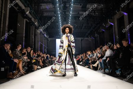 Stock Image of A model presents a creation by fashion label Rebekka Ruetz during the MBFW (Mercedes-Benz Fashion Week) in Berlin, Germany, 15 January 2020. The Autumn/Winter 2020 collections are presented at the MBFW Berlin from 13 to 17 January.