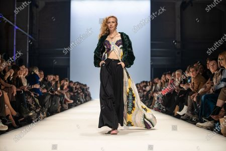 A model presents a creation by fashion label Rebekka Ruetz during the MBFW (Mercedes-Benz Fashion Week) in Berlin, Germany, 15 January 2020. The Autumn/Winter 2020 collections are presented at the MBFW Berlin from 13 to 17 January.