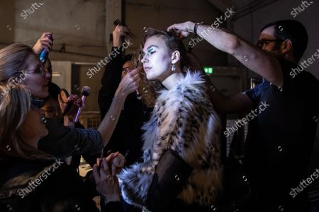 A model is prepared backstage before a show of designer Rebekka Ruetz during the MBFW (Mercedes-Benz Fashion Week) in Berlin, Germany, 15 January 2020. The Autumn/Winter 2020 collections are presented at the MBFW Berlin from 13 to 17 January.