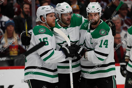R m. From left, Dallas Stars center Joe Pavelski (16), Dallas Stars right wing Alexander Radulov (47) and Dallas Stars left wing Jamie Benn (14) in the second period of an NHL hockey game, in Denver