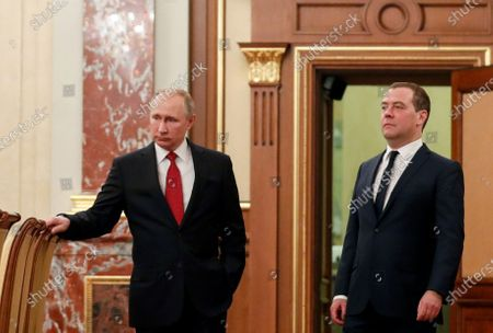 Russian President Vladimir Putin (L) and Russian Prime Minister Dmitry Medvedev (R) prior to a meeting with Cabinet members in Moscow, Russia, 15 January 2020. Russian Prime Minister Dmitry Medvedev announced of resignation of Russian Government.