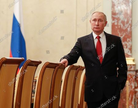 Russian President Vladimir Putin prior to a meeting with Cabinet members at the Government's headquarters in Moscow, Russia, 15 January 2020. Russian Prime Minister Dmitry Medvedev announced of resignation of Russian Government.