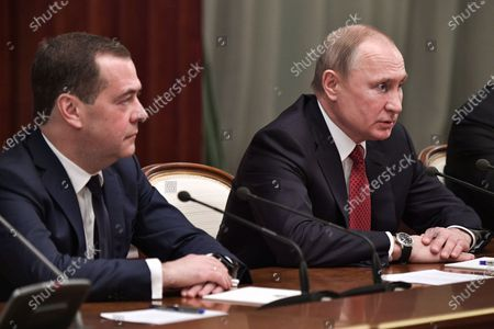 Russian President Vladimir Putin (R) and Russian Prime Minister Dmitry Medvedev (L) attend a meeting with Cabinet members in Moscow, Russia, 15 January 2020. Russian Prime Minister Dmitry Medvedev announced of resignation of Russian Government.