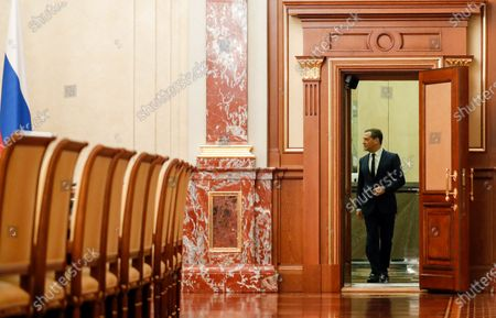 Russian Prime Minister Dmitry Medvedev enters a hall prior to a meeting of Russian President with Cabinet members at the Government's headquarters in Moscow, Russia, 15 January 2020. Russian Prime Minister Dmitry Medvedev announced of resignation of Russian Government.