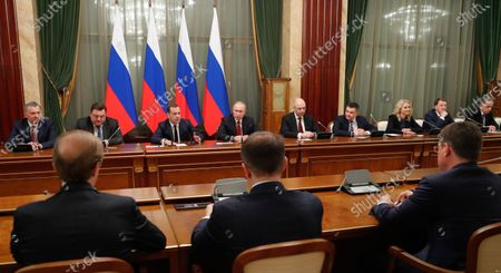 Russian President Vladimir Putin (back, 4-L) and Russian Prime Minister Dmitry Medvedev (back, 3-L) attend a meeting with Cabinet members at the Government's headquarters in Moscow, Russia, 15 January 2020. Russian Prime Minister Dmitry Medvedev announced the resignation of the Russian government.