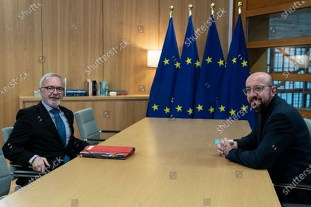 European Investement Bank (EIB) President Werner Hoyer and European Council President Charles Michel before their meeting at the Europa building in Brussels, Belgium, 15 January 2020.