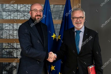 European Investement Bank (EIB) President Werner Hoyer shakes hands with European Council President Charles Michel before their meeting at the Europa building in Brussels Belgium, 15 January 2020.
