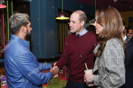 Stock Picture of Prince William and Catherine Duchess of Cambridge meet with Amir Khan during a visit to MyLahores flagship restaurant on January 15, 2020 in Bradford, United Kingdom. MyLahore is a British Asian restaurant chain which has taken inspiration from Lahore, the Food Capital of Pakistan. The Duke and Duchess visited Lahore during their recent tour to Pakistan.